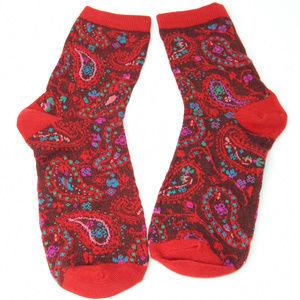 Accessories - Soft Paisley Socks Set - Red & Mustard Yellow